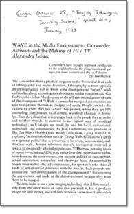 WAVE in the Media Environment: Camcorder Activism and the Making of HIV TV photo